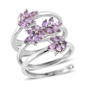Mauve Sapphire Platinum Over Sterling Silver Ring (Size 7.0) TGW 2.32 cts.