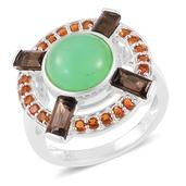 Inspire by Liz Fuller, Abundance Collection Power Australian Chrysoprase, Brazilian Smoky Quartz, Santa Ana Madeira Citrine 935 Argentium Sterling Silver Ring (Size 10.0) TGW 6.00 cts.