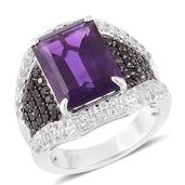 Lusaka Amethyst, Thai Black Spinel, White Topaz Black Rhodium Over and Sterling Silver Ring (Size 8.0) TGW 9.05 cts.