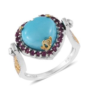 Arizona Sleeping Beauty Turquoise, Orissa Rhodolite Garnet 14K YG and Platinum Over Sterling Silver Reversible Ring (Size 9.0) TGW 7.19 cts.