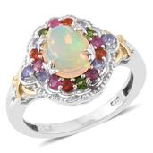 Ethiopian Welo Opal, Multi Gemstone 14K YG and Platinum Over Sterling Silver Ring (Size 9.0) TGW 2.86 cts.