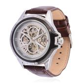 GENOA Mechanical Dial Watch in Silvertone with Brown Genuine Leather Strap and Stainless Steel Back