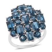 London Blue Topaz Platinum Over Sterling Silver Ring (Size 8.0) TGW 11.65 cts.