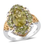 Ouro Verde Quartz, Hebei Peridot, Cambodian Zircon 14K YG and Platinum Over Sterling Silver Ring (Size 5.0) TGW 6.51 cts.