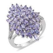 Tanzanite, Cambodian Zircon Platinum Over Sterling Silver Ring (Size 6.0) TGW 4.79 cts.