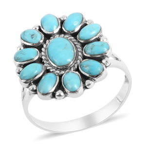 Santa Fe Style Turquoise Sterling Silver Ring (Size 9.0) TGW 4.35 cts.