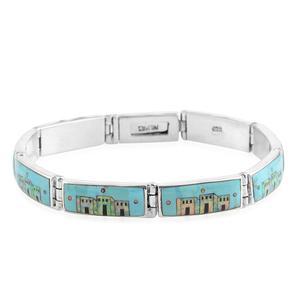 Santa Fe Style Kingman Turquoise, Black Onyx, Lab Created Opal Sterling Silver Bracelet (8.00 In) TGW 11.50 cts.