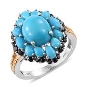 Arizona Sleeping Beauty Turquoise, Thai Black Spinel 14K YG and Platinum Over Sterling Silver Ring (Size 6.0) TGW 5.90 cts.