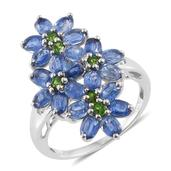 Himalayan Kyanite, Russian Diopside Platinum Over Sterling Silver Floral Ring (Size 7.0) TGW 5.55 cts.