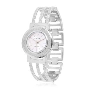 STRADA Japanese Movement Bracelet Watch in Silvertone with Stainless Steel Back