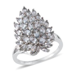 Espirito Santo Aquamarine Platinum Over Sterling Silver Ring (Size 7.0) TGW 3.26 cts.