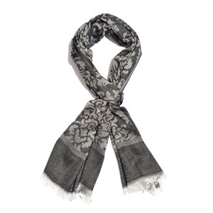 Black 100% Modal Damask Jacquard Reversible Scarf (70x27 in)