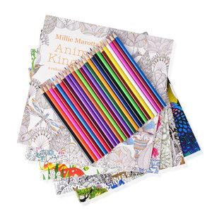 Set of 5 Anti- Stress Adult Coloring Books and One Crayons Box