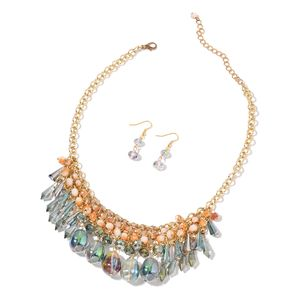 One Time Only Multi Color Glass Goldtone and ION Plated YG Stainless Steel Earrings and Necklace (18 in) TGW 356.00 cts.