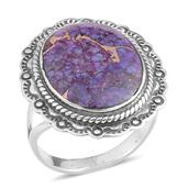 Santa Fe Style Mojave Purple Turquoise Sterling Silver Ring (Size 8.0) TGW 3.75 cts.