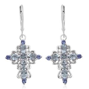 Espirito Santo Aquamarine, Tanzanite Platinum Over Sterling Silver Cross Lever Back Earrings TGW 2.38 cts.