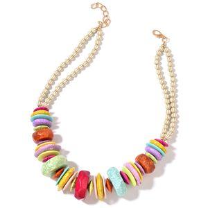 Designer Inspired Multi Color Chroma Goldtone Necklace (24 in)