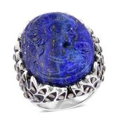 Lapis Lazuli Cameo Carved, Swiss Marcasite Enameled Stainless Steel Ring (Size 6.0) TGW 26.50 cts.