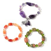 Set of 3 Unakite, Amethyst, Red Agate Silvertone Bracelets (Stretchable) TGW 440.00 cts.