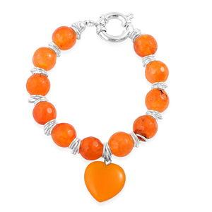 Agate Stainless Steel Heart Charm Bracelet (8.00 In) TGW 92.50 cts.