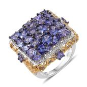 Tanzanite 14K YG and Platinum Over Sterling Silver Cluster Ring (Size 8.0) TGW 7.25 cts.