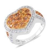 Orange Sapphire, Cambodian White Zircon 14K YG Over Sterling Silver Heart Ring (Size 8.0) TGW 2.43 cts.