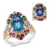 Color Change Fluorite, Multi Gemstone 14K YG and Platinum Over Sterling Silver Ring (Size 10.0) TGW 7.68 cts.