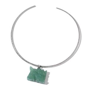 Brazilian Aventurine Stainless Steel Dragon Pendant With Collar Necklace (16 in) TGW 114.90 cts.