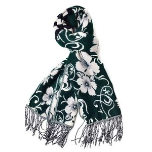 Dark Green and Cream 100% Acrylic 3D Floral Reversible Scarf with Fringes (74x27 in)