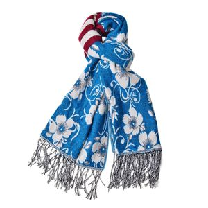Turquoise and Cream 100% Acrylic 3D Floral Reversible Scarf with Fringes (74x27 in)