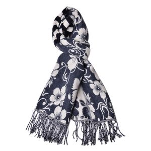 Blue and Cream 100% Acrylic 3D Floral Reversible Scarf with Fringes (74x27 in)