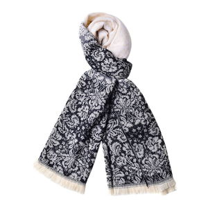 Black and White Floral Pattern 100% Acrylic Scarf with Tassels (25.5x60 in)