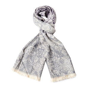 Silver Gray and White Floral Pattern 100% Acrylic Scarf with Tassels (26.78x74.81 in)