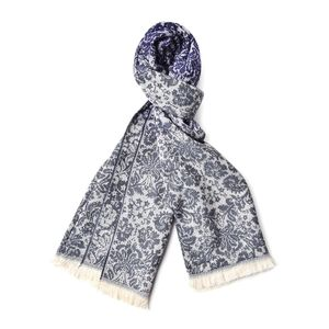 Navy and White Floral Pattern 100% Acrylic Scarf with Tassels  (25.5x60 in)
