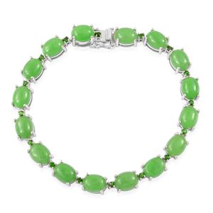 Burmese Green Jade, Russian Diopside Sterling Silver Bracelet (6.50 In) TGW 32.25 cts.
