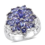 Tanzanite Platinum Over Sterling Silver Ring (Size 7.0) TGW 4.05 cts.
