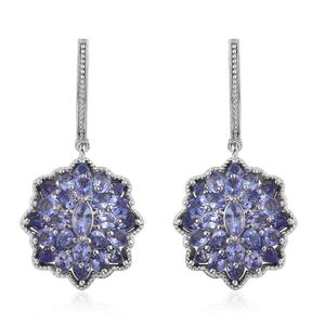 Tanzanite Platinum Over Sterling Silver J-Hoop Dangle Earrings TGW 8.08 cts.