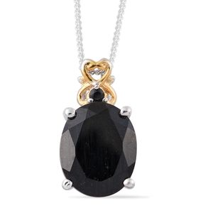 Australian Black Tourmaline, Thai Black Spinel 14K YG and Platinum Over Sterling Silver Pendant With Chain (20 in) TGW 3.53 cts.