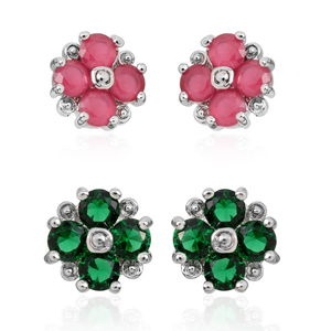 Simulated Red Diamond, Lab Created Emerald Silvertone Set of 2 Floral Stud Earrings TGW 2.72 cts.