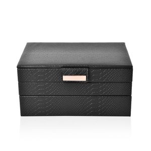 3-Tier Black Faux Leather Stack Jewelry Box with Scratch Protection Interior and Button Closure (Approx. 72 Rings, 5 Chains & Bracelets, 9 Small and 2 Medium Compartments) (9.8x6.7x4.7 in)