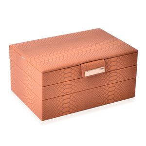 3-Tier Camel Faux Leather Stack Jewelry Box with Scratch Protection Interior and Button Closure (Approx. 72 Rings, 5 Chains & Bracelets, 9 Small and 2 Medium Compartments) (9.8x6.7x4.7 in)