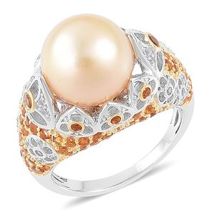 South Sea Golden Cultured Pearl (11.5-12 mm) Cluster Ring in 14K YG Over and Sterling Silver 1.36 cttw (Size 6.0)