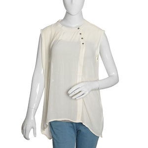 Off White 100% Polyester Hi-low Sleevless Top with Button Opening (XXL)