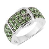 TLV Stainless Steel Buckle Ring (Size 9.0) Made with SWAROVSKI Green Crystal