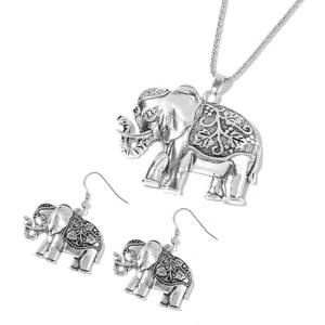 Silvertone Elephant Earrings and Pendant With Iron Chain (29 in)