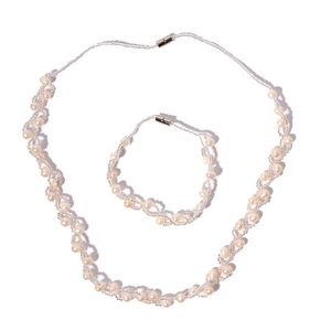 Freshwater Pearl, White Glass Silvertone Bracelet (8 in) and Necklace (20.00 In)