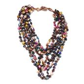 Multi Color Shell Beads, Multi Strand Drape Necklace on Brown Cord (18 in)