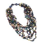 Multi Color Shell Beads, Multi Strand Drape Necklace on Navy Cord (18 in)