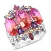 Arizona Sunset Quartz, Multi Gemstone, Diamond Accent 14K YG and Platinum Over Sterling Silver Ring (Size 7.0) TGW 15.55 cts.