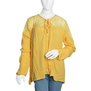 Spicy Mustard Solid Lace Drawstring 100% Viscose Top with Long Sleeve (XXL)